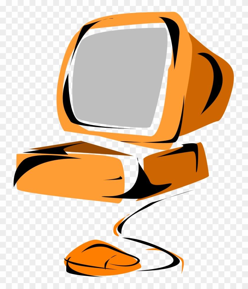 Computer 05 Clipart, Vector Clip Art Online, Royalty - Computer Clip Art Orange #120476