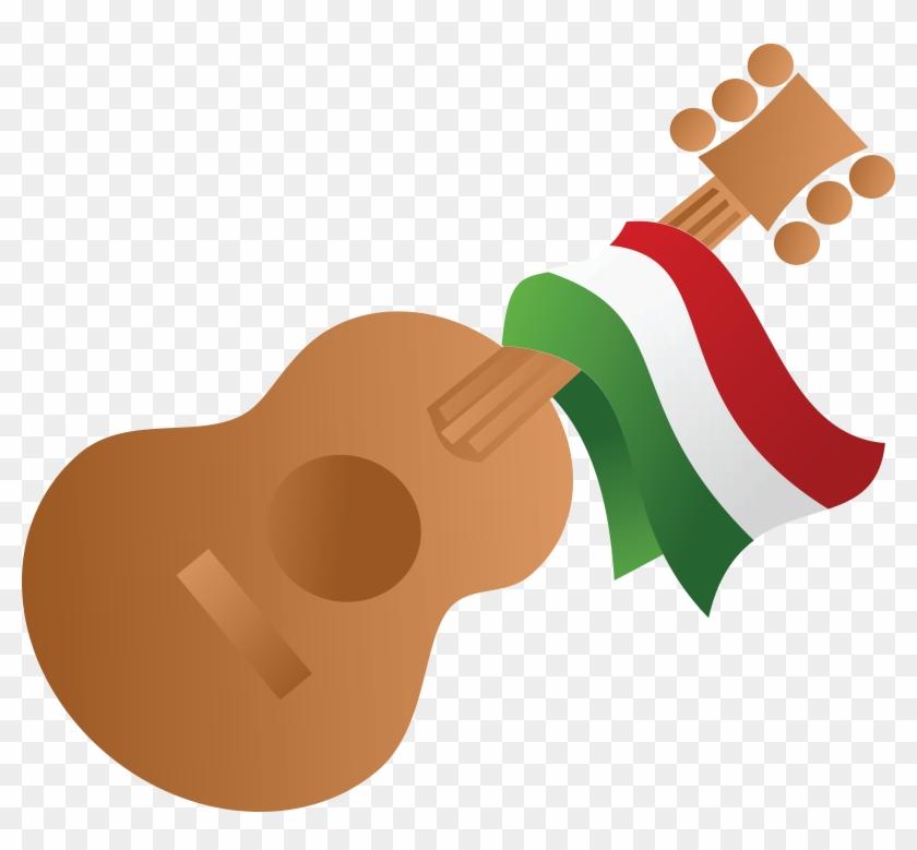 Free Clipart Of A Mexican Flag Draped On A Guitar - Cinco De Mayo Guitar #120503