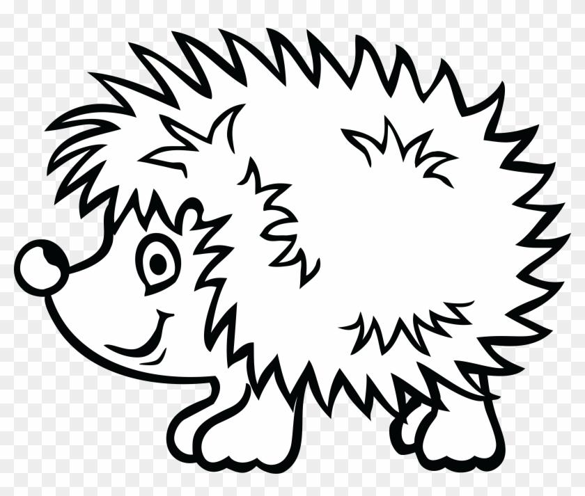 Free Clipart Of A Hedgehog - Hedgehog Black And White #120606