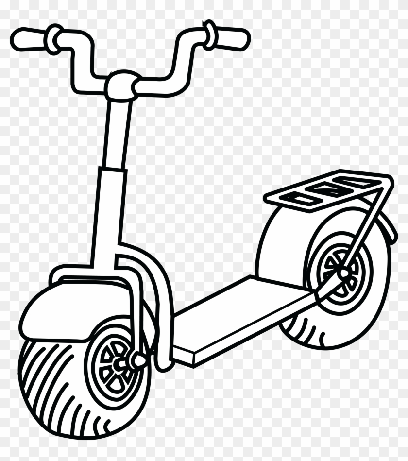 Free Clipart Of A Scooter - Scooter Clipart Black And White #120611