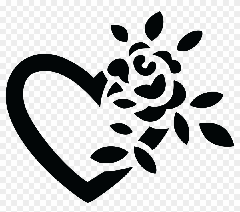 Free Clipart Of A Black And White Fully Bloomed Rose - Love Flower Black And White #120659