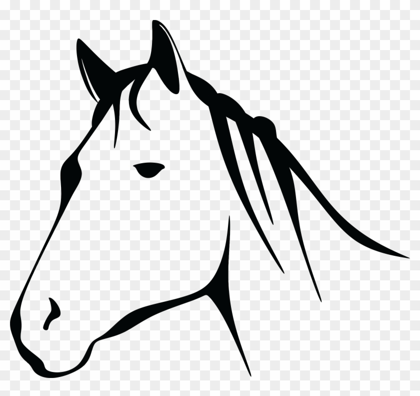 Free Clipart Of A Black And White Horse Head - Horse Head Clipart Black And White #120682