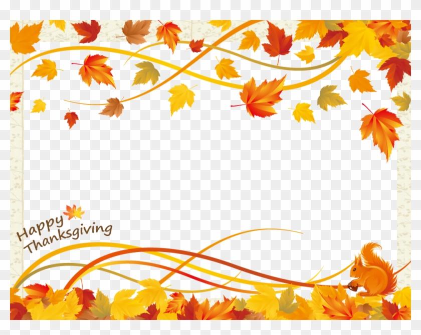 Thanksgiving Day Frame - Vector Fall Leaf Border #635156