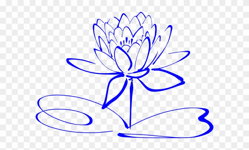 Lotus Outline Blue Clip Art Drawing Black And White Flower Clip