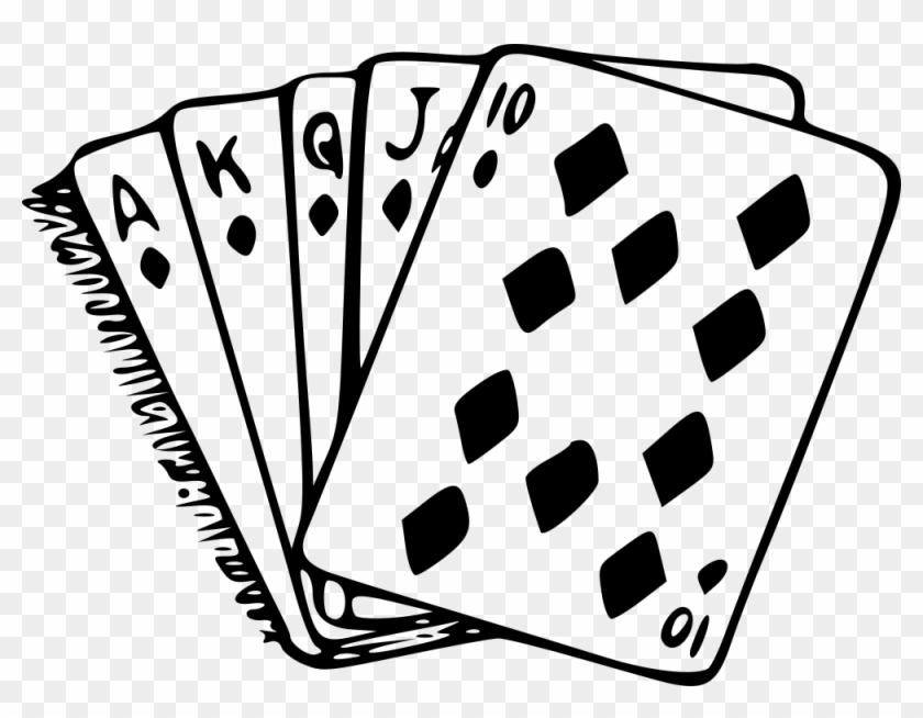 Royal Flush - Poker Clipart Black And White #641573