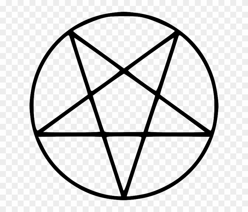 Outline, Figure, Five, Pentagram, Tattoo, Geometric - Pentagram Black And White #646378