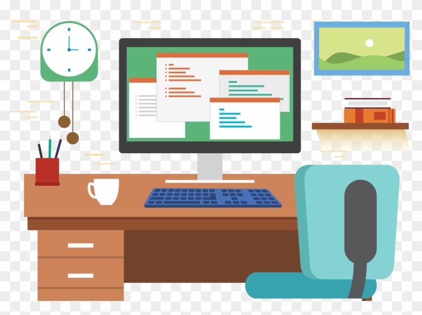 desk office graphic design office desk cartoon png