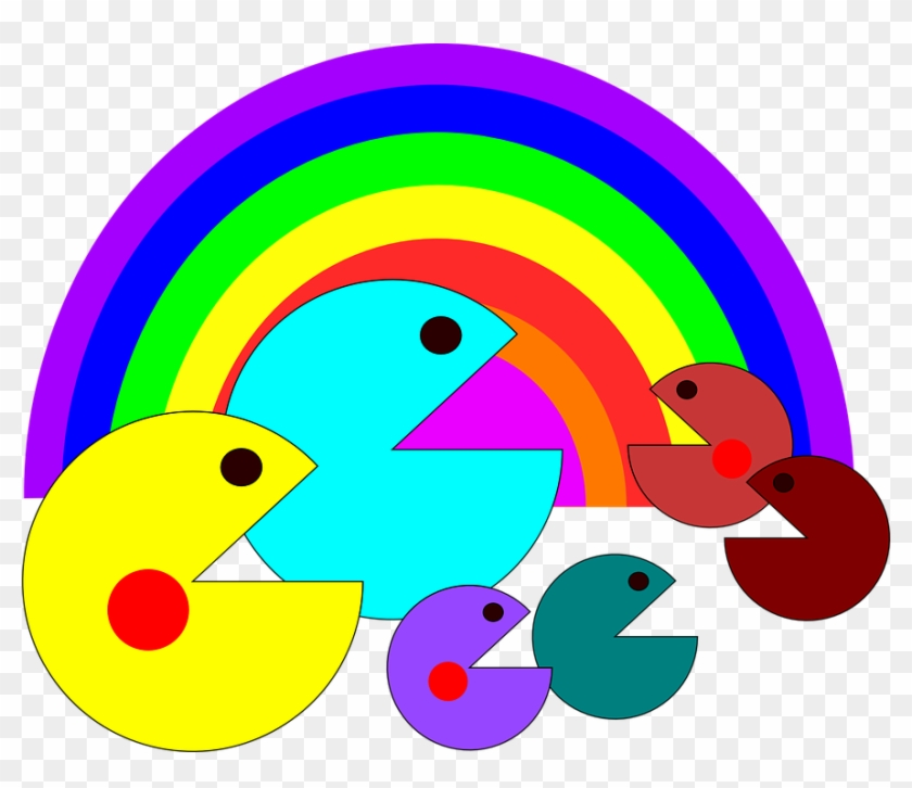 Pac Video Man Character Rainbow Game Colors Pac Pac Man