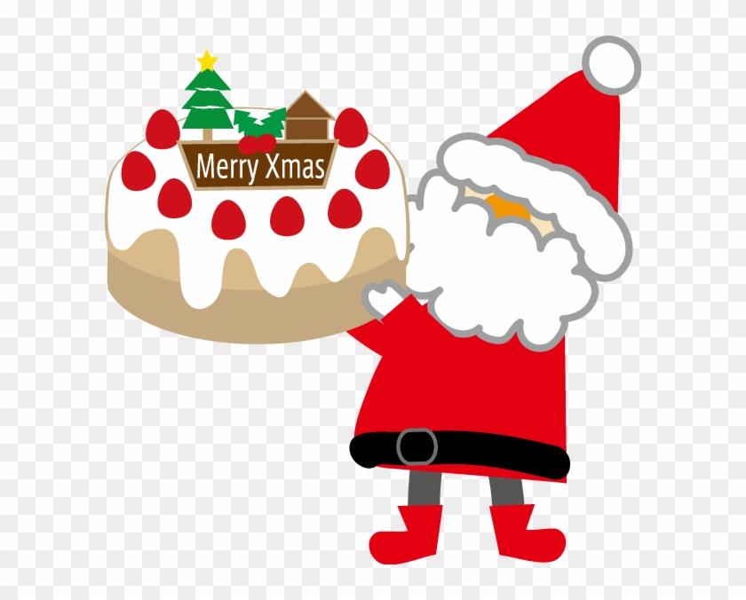 サンタクロースとクリスマスケーキのイラスト 印刷用ダウンロード1