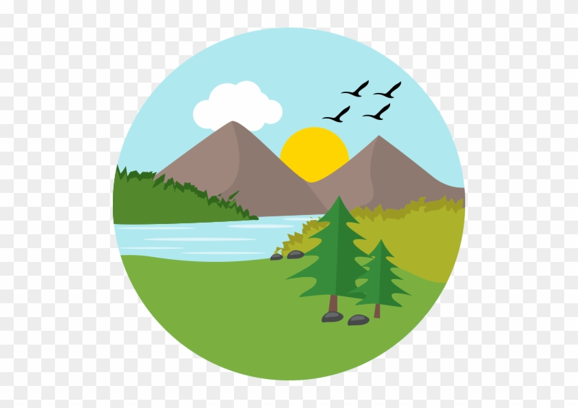 Flat, Multicolor, Monuments Icon - Green Mountain Icon Png #652924