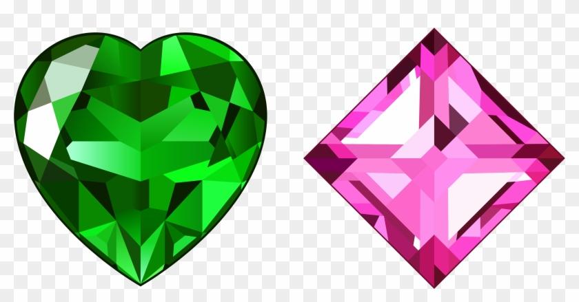 Transparent Green And Pink Diamonds Png Clipart - Green And Pink Diamond #653595