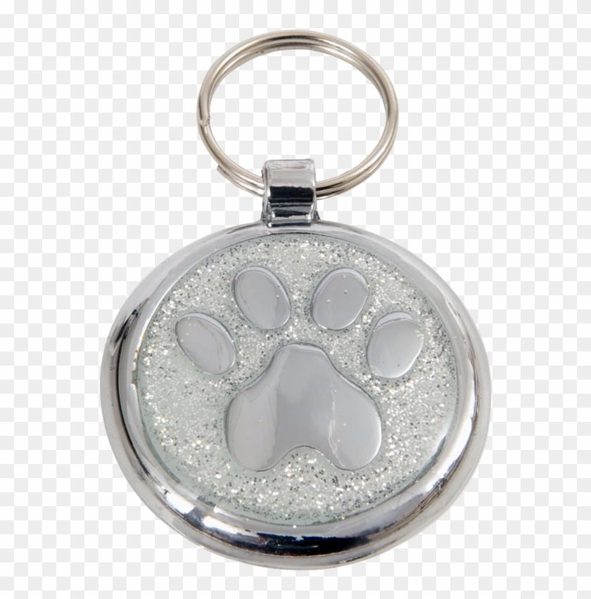 luxury designer dog tag glitter silver sparkle paw pet tag free