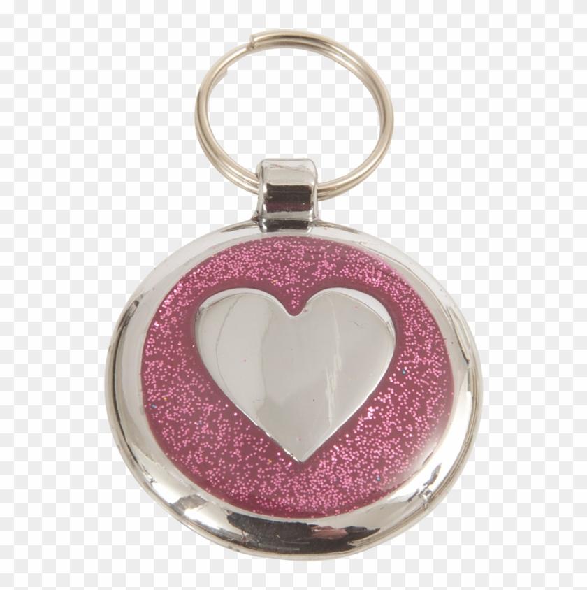 luxury designer dog tag glitter pink heart shimmer pet tag free