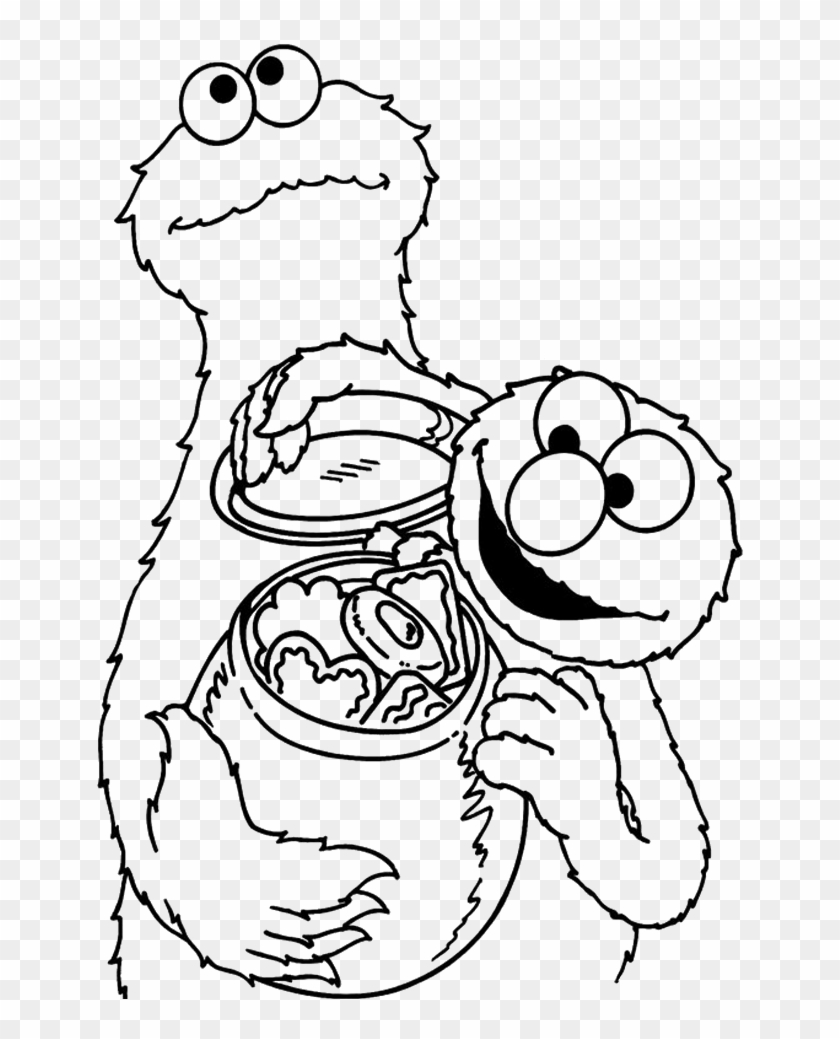 Cookie Monster Share Cookies With Elmo Coloring Pages - Cookie ...