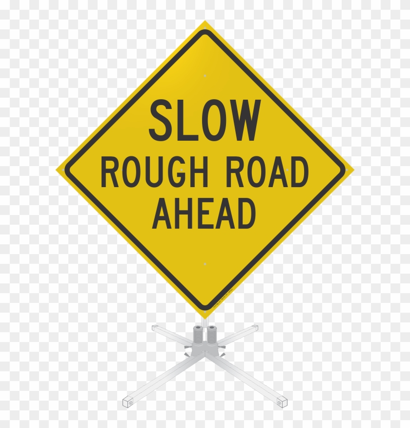 Slow Rough Road Ahead Roll-up Sign - Workplace Safety Clip Art #662865