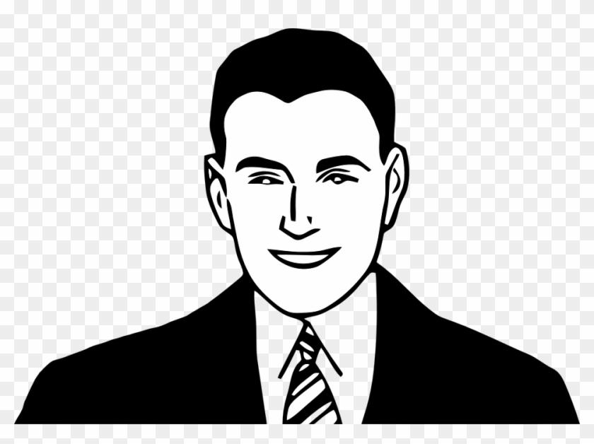 Portrait Clipart Male Face - Man Face Clipart Black And White #665046
