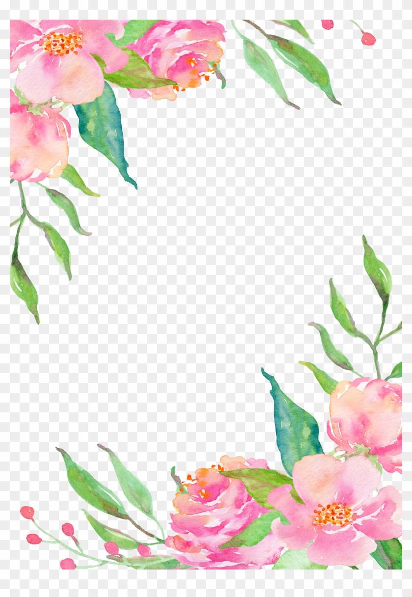 Pink Flower Borders Watercolor Flower Border Png Free