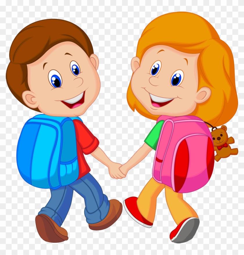 Backpack Child Cartoon Clip Art - Boy And Girl Cartoon #668452