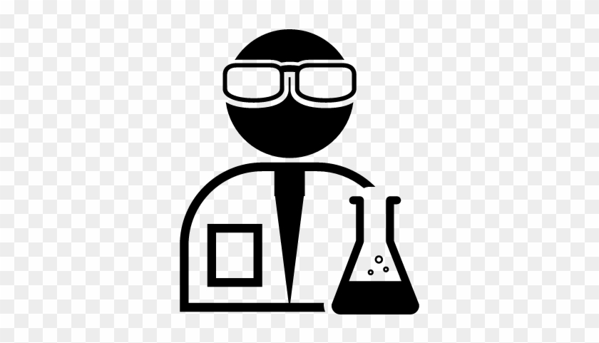scientist with lab goggles and flask with chemical scientist icon