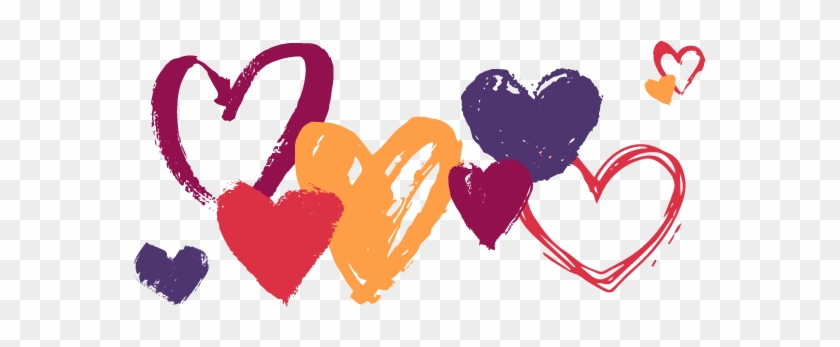 Hand Drawn Hearts In Various Colours Hand Drawn Heart Png Free