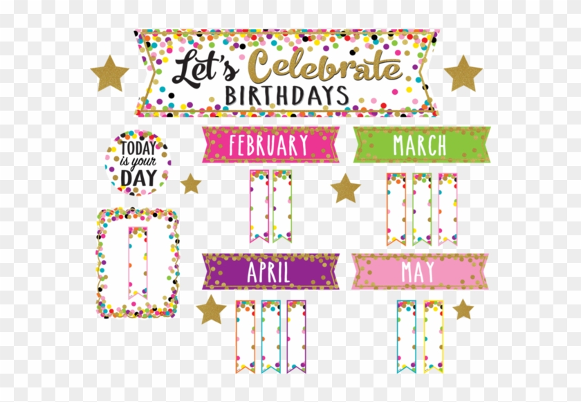Confetti Happy Birthday Mini Bulletin Board - Lets Celebrate Birthdays #669890