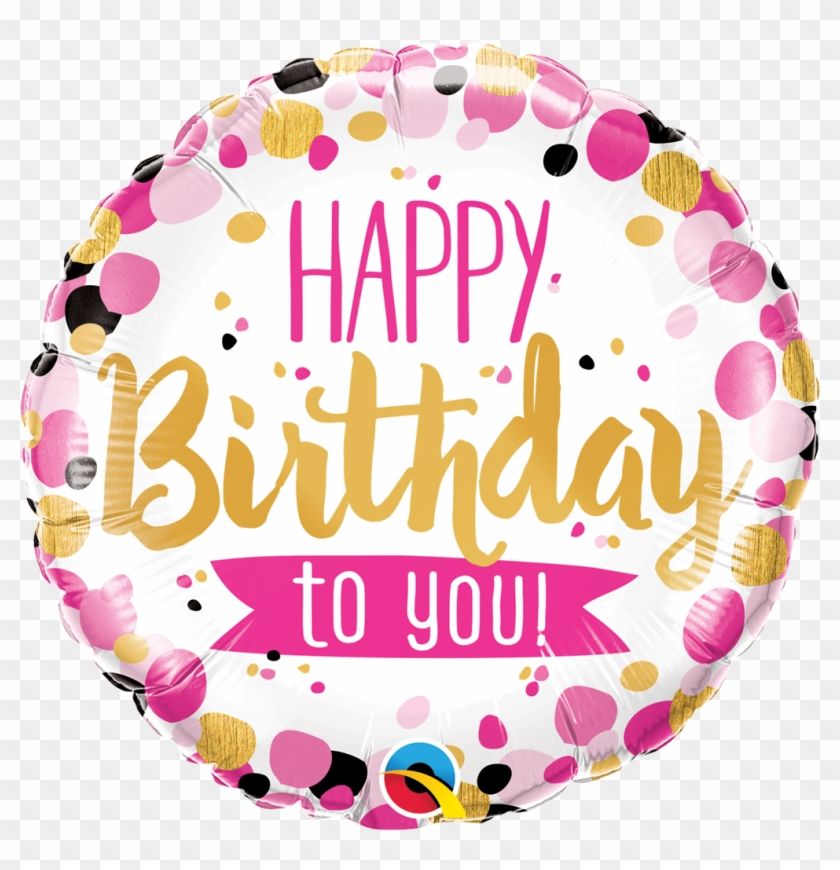 Birthday Pink Gold Confetti 18 Foil Balloon