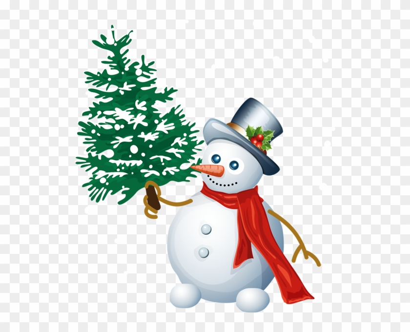 0, - Snowman And Christmas Tree Clipart #670128