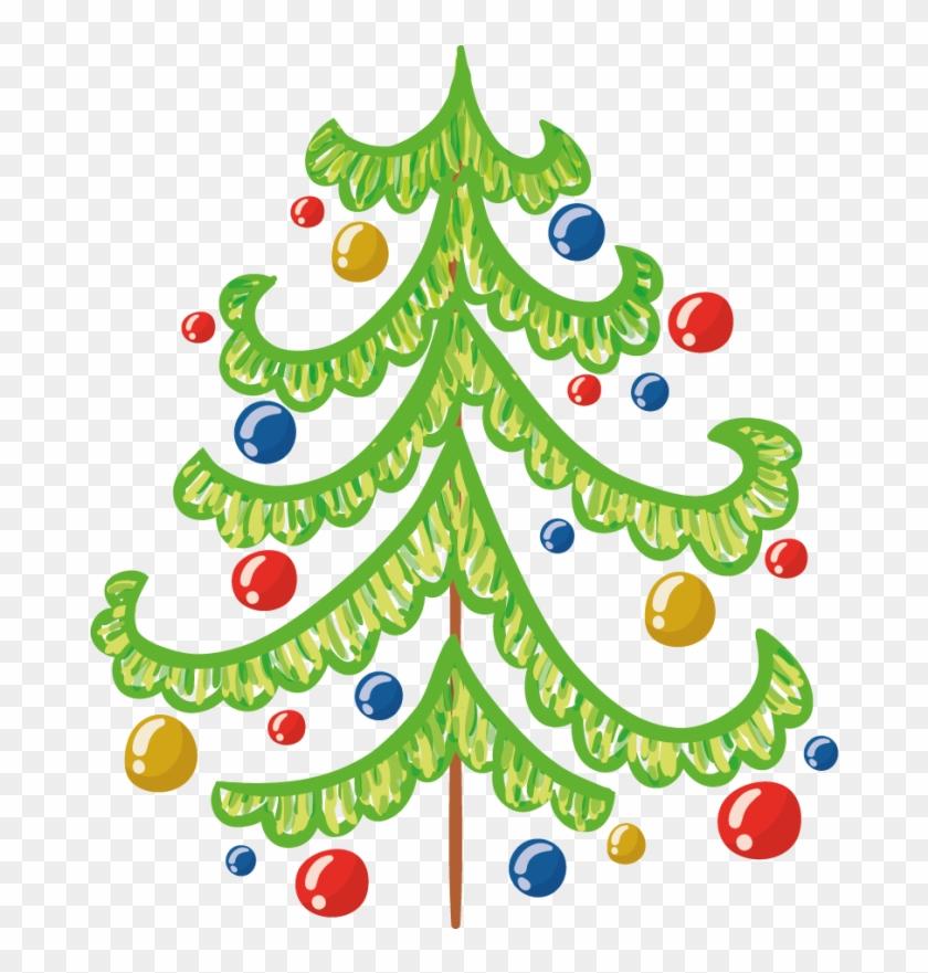 Stickers Sapin De Noël Vert Avec Boules Repositionnable - Christmas Tree #670691