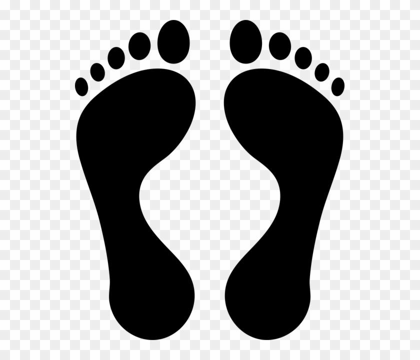 Icon, Foot, Feet, Step, Vector, Food, Baby, Isolated - Black Footprints #671469