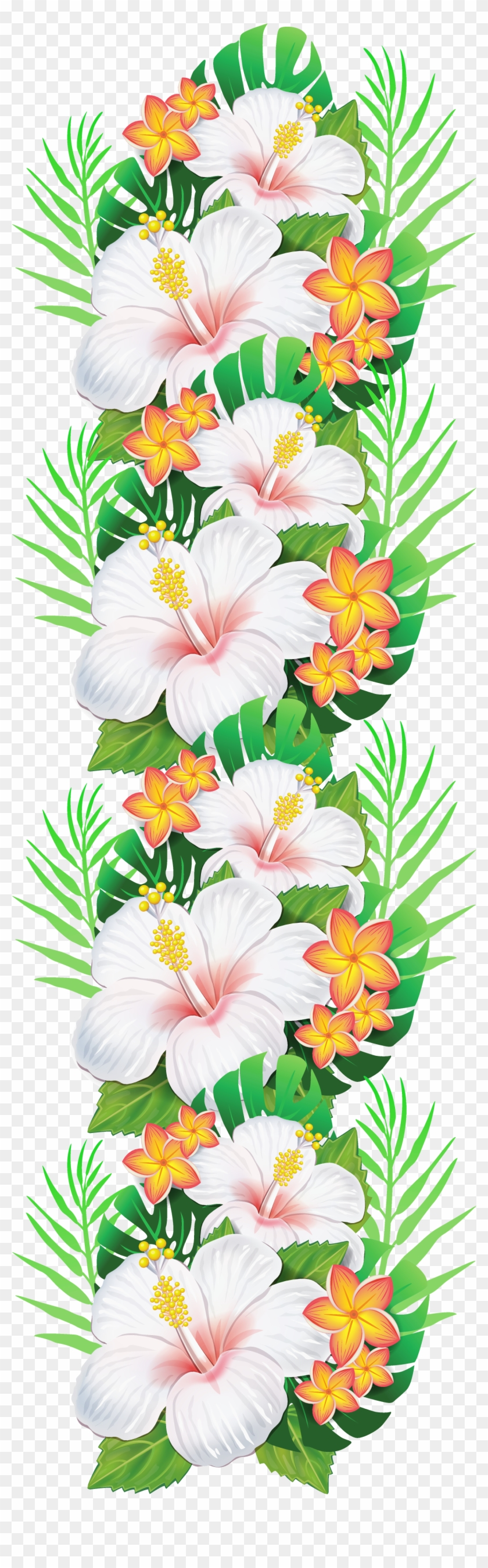 White Exotic Flowers Decoration Png Clipart - Tropical Flower Clipart #672322
