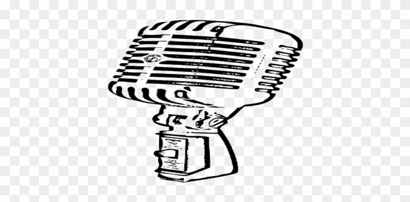 Microphone Clipart Cute Pencil And In Color Microphone - Old School  Microphone Outline, HD Png Download - kindpng