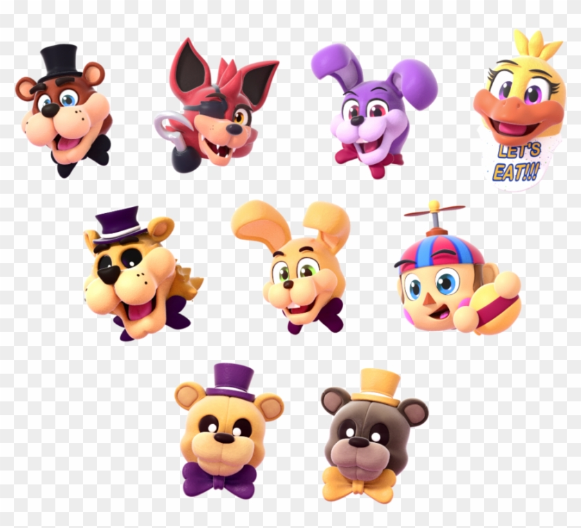 Fnaf World Characters Head - Free Transparent PNG Clipart