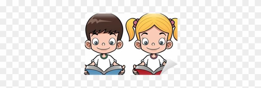Vector Illustration Of Cartoon Boy And Girl Reading - Cartoon Boy And Girl Reading #675083
