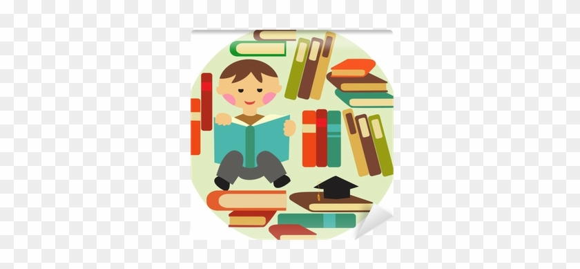 Vector Illustration Of School Boy Reading On Pile Of - Book #675095