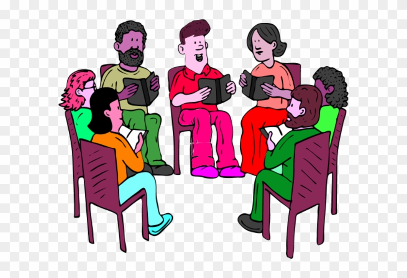 People Sitting On Chairs And Reading Books Vector Clip - Bible Study Group Clipart #675354