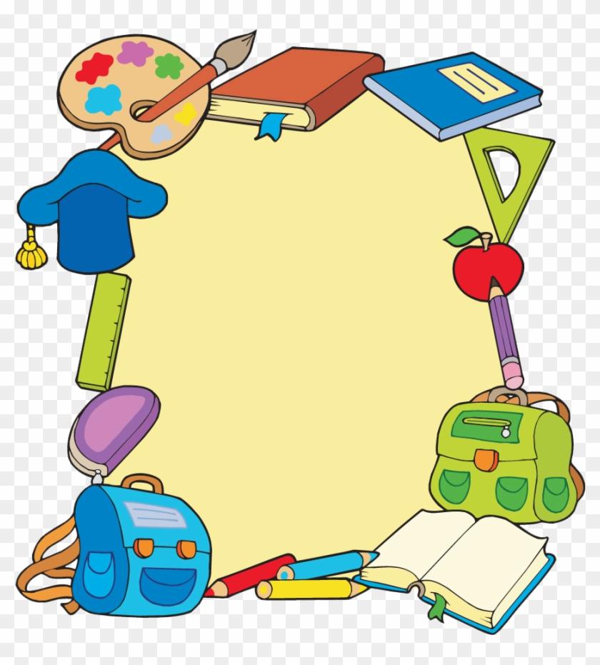 Student School Picture Frame Clip Art - School Supplies Background Cartoon #675863