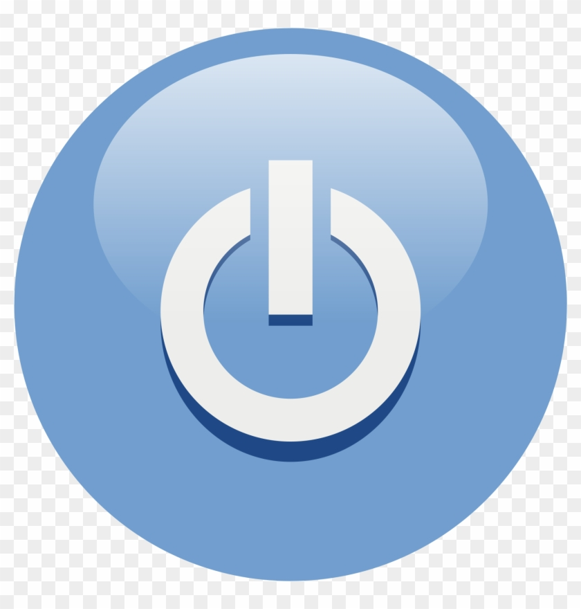 Illustration Of A Blue Power Button Icon - Off Switch Icon