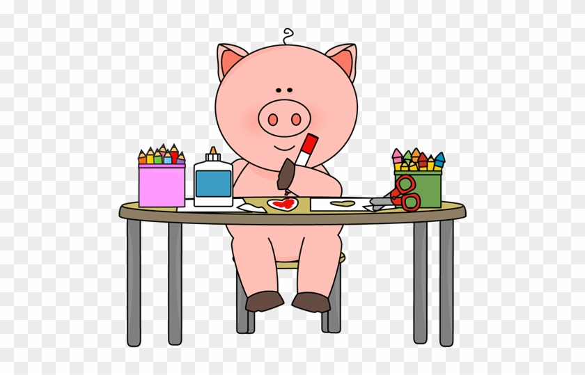 Pig Coloring In Art Class - Pigs In School Clipart #676168