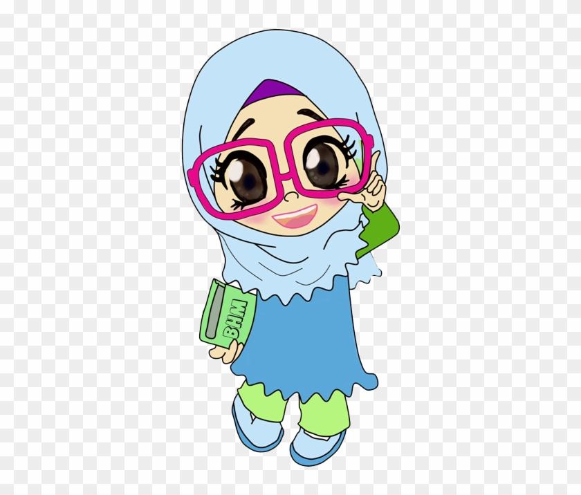 Cikgu Bunga Biru X Kartun Muslimah Berkacamata Cantik Free Transparent Png Clipart Images Download