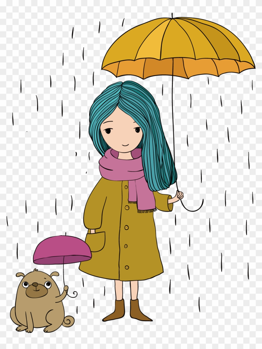 Cartoon Stock Photography Drawing Illustration - Girl Hold An Umbrella #679229