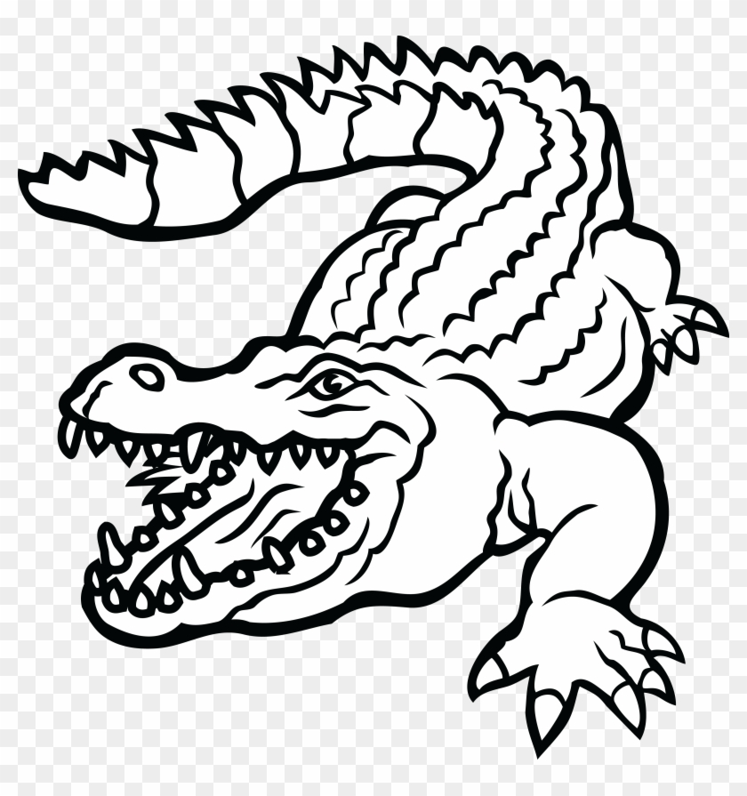 Free Clipart Of A Crocodile - Alligator Black And White Clipart #120690