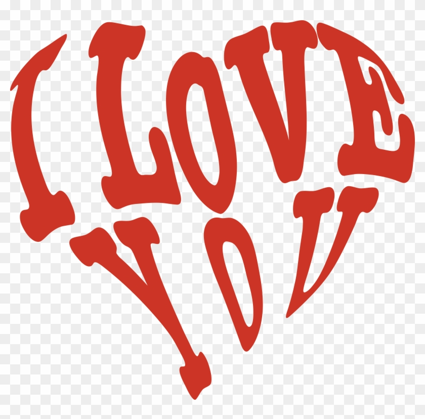 Free Clipart Of A Red Heart Formed Of I Love You - Love You Png #120761