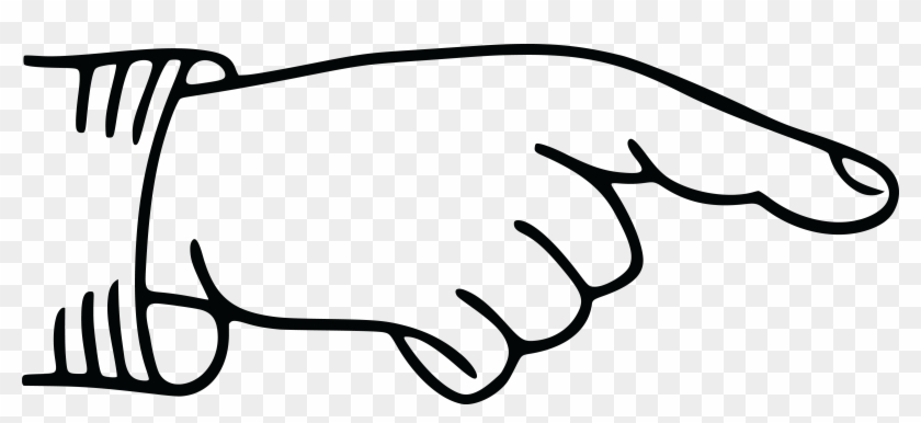 Free Clipart Of A Hand Pointing A Finger, Black White - Pointing Finger #120814