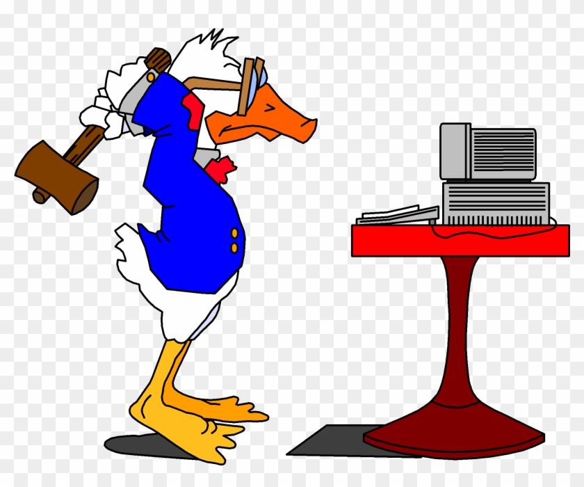 Clipart Duck Computer - Duck Smashing Computer Clip Art #121209
