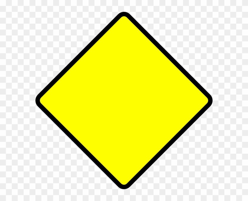 Blank Street Signs - Yellow Diamond Road Sign #121641