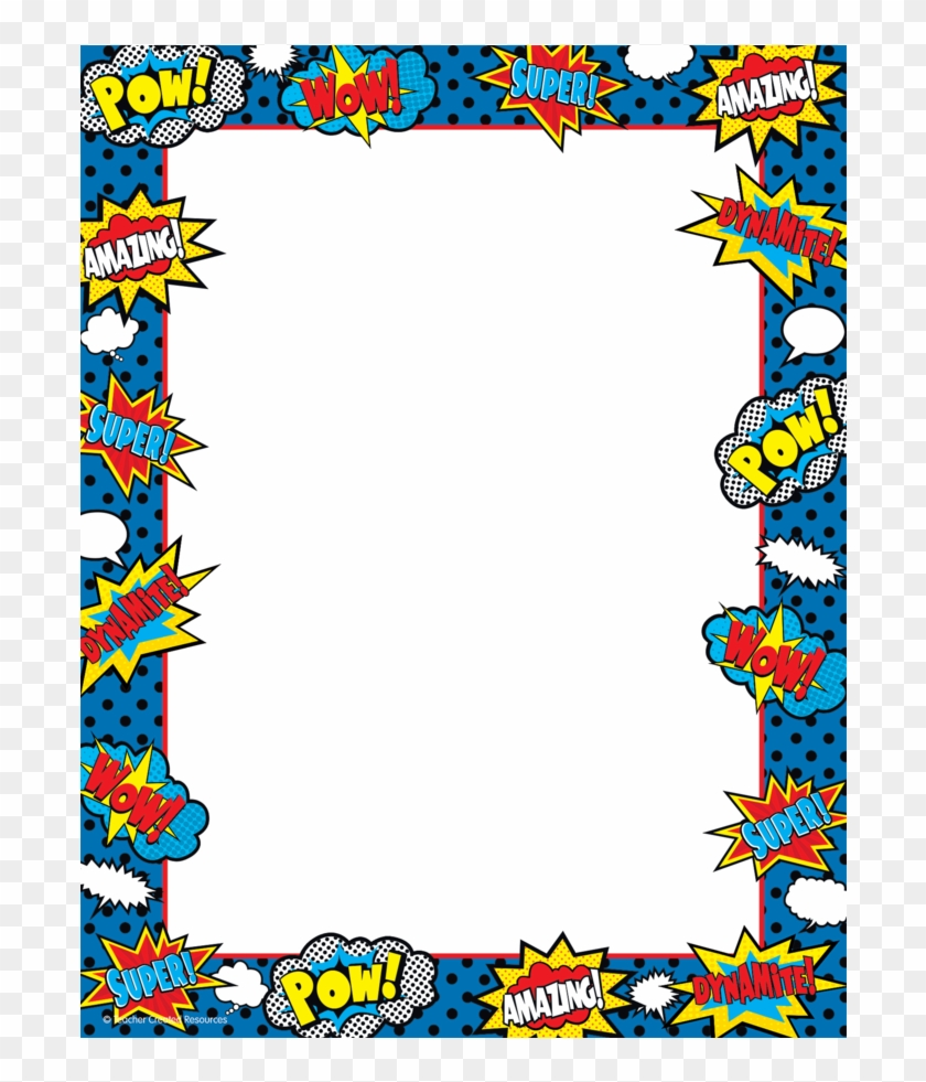 Clipart Border - Superhero Name Tag #122084