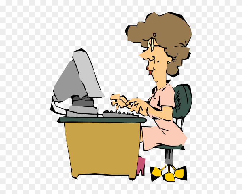 Woman Using A Computer Clip Art Free Vector / 4vector - Computer Clip Art #122302