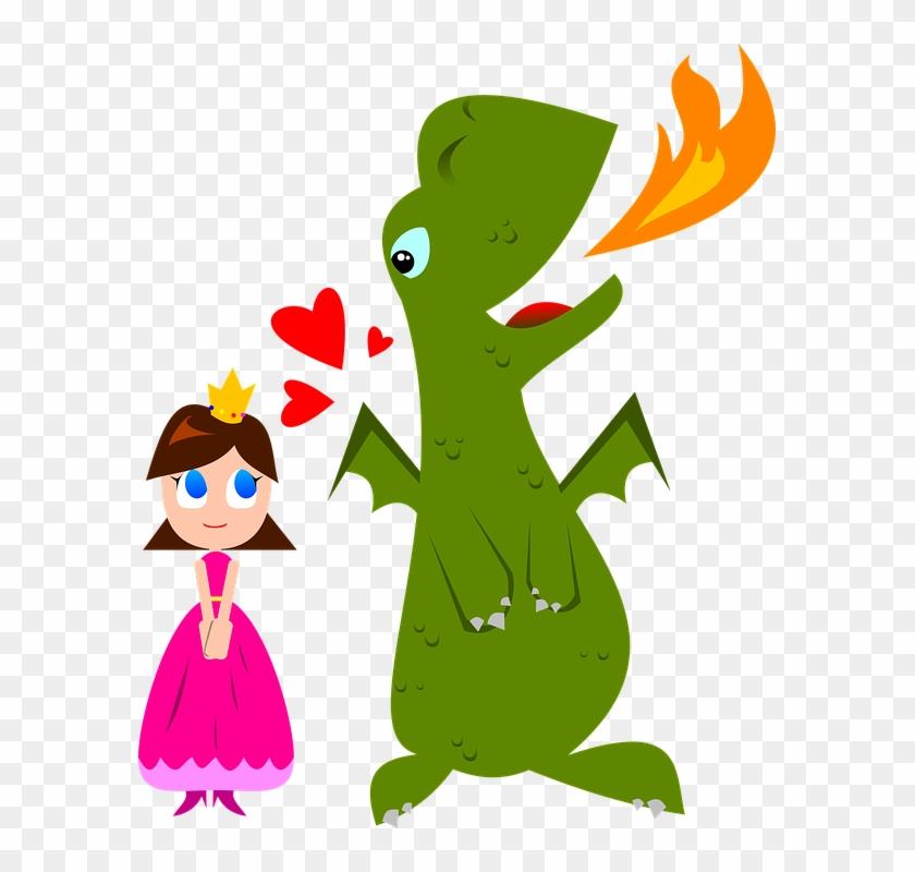 Cartoon Dragon And Princess #122926