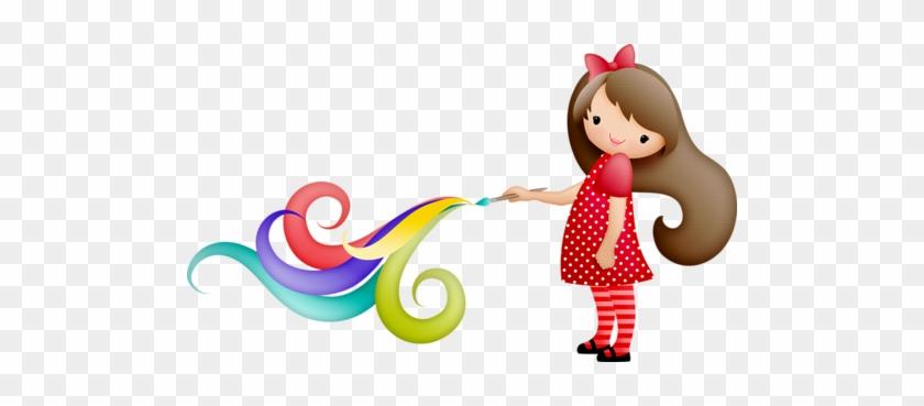 You Color My World Clip Art - Niñas Pintando #123411