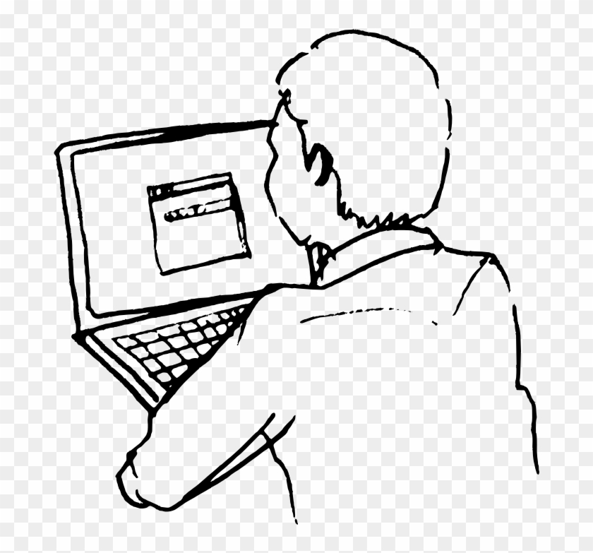 Computer Line Art - Person On Computer Drawing #123477